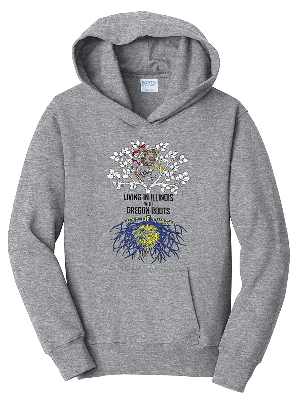 Tenacitee Girls Living in Illinois with Oregon Roots Hooded Sweatshirt