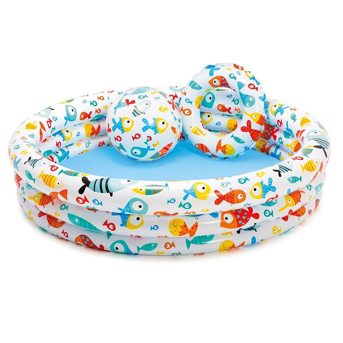 Piscina Gonfiabile Nuoto Anello Ocean Ball Set da 3 Pezzi, Piscina per Bambini sopra Il Fondo Piscina con Pompa di Aria Elettrica Piscina Estiva per Piscina 2+,3Pieces