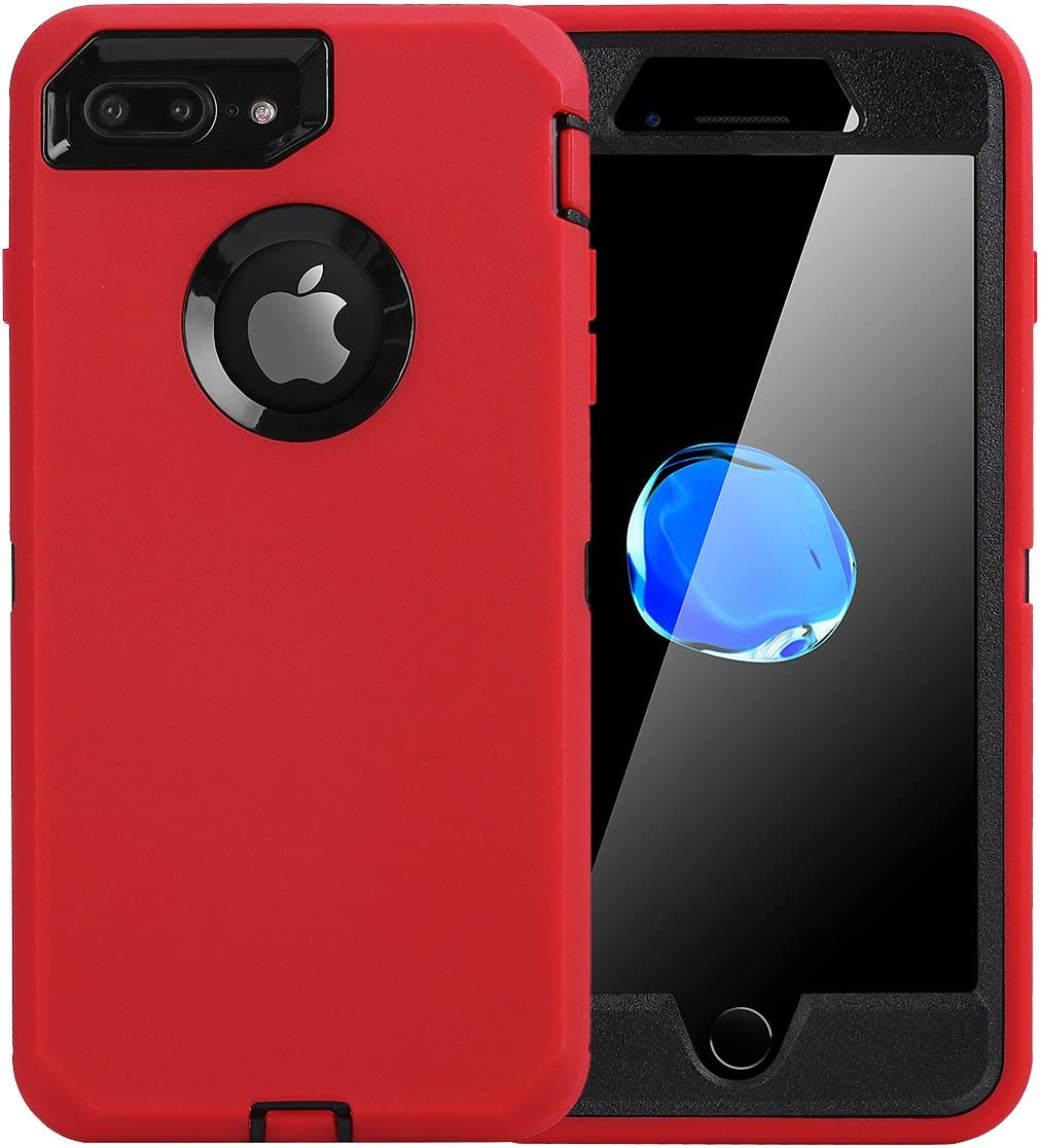 iPhone 8 Plus/7 Plus Case, AICase [Heavy Duty] [Full Body] Tough 4 in 1 Rugged Shockproof Cover with Built-in Screen Protector for Apple iPhone 8 Plus/7 Plus (Black/Red)