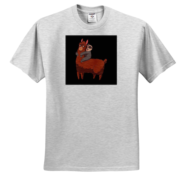 Funny Llama Alpaca with Sloth Animal Gift Adult T-Shirt XL 3dRose Sven Herkenrath Animal ts/_314124