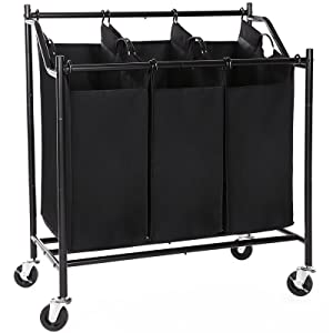 SONGMICS 3-Bag Rolling Laundry Sorter Cart Heavy-Duty Sorting Hamper W' Removable Bags Brake Casters Black URLS70H
