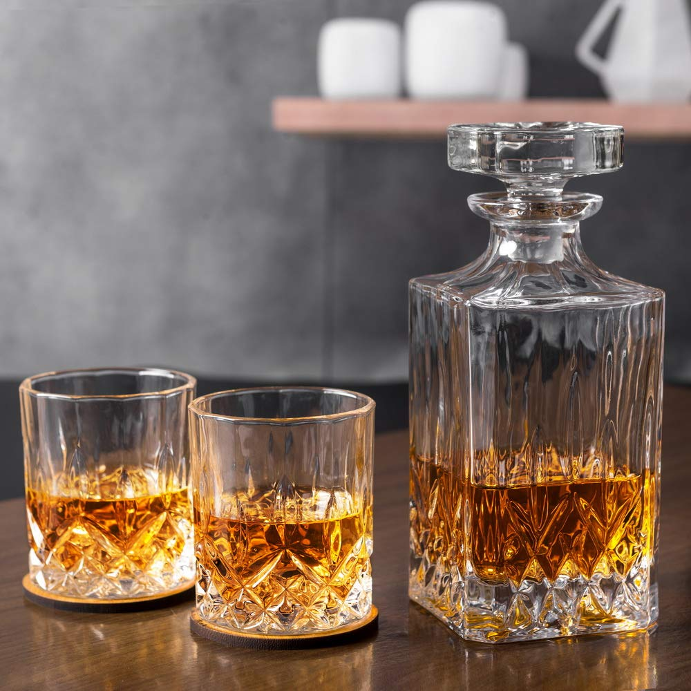 KANARS Whiskey Decanter And Glass Set In Unique Luxury Gift Box - Original Crystal Liquor Decanter Set For Bourbon, Scotch or Whisky, 5-Piece by KANARS (Image #10)