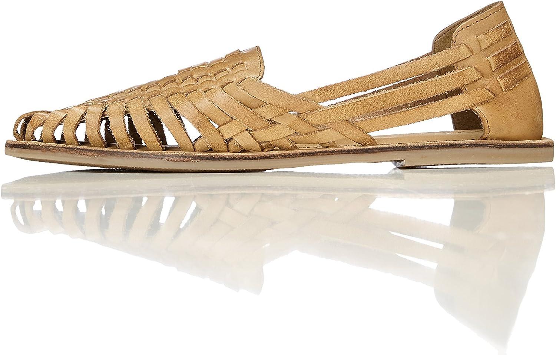 Marca Amazon - find. Sandalias de Cuero Trenzado Mujer, Marrón (Cuoio), 38 EU