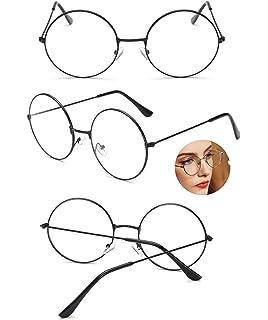 PCWS Runde Vintage Retro Brille Damen Herren Unisex Metall Beatles Sixties Nerd Gamer Rund Schwarz Rosegold Silber