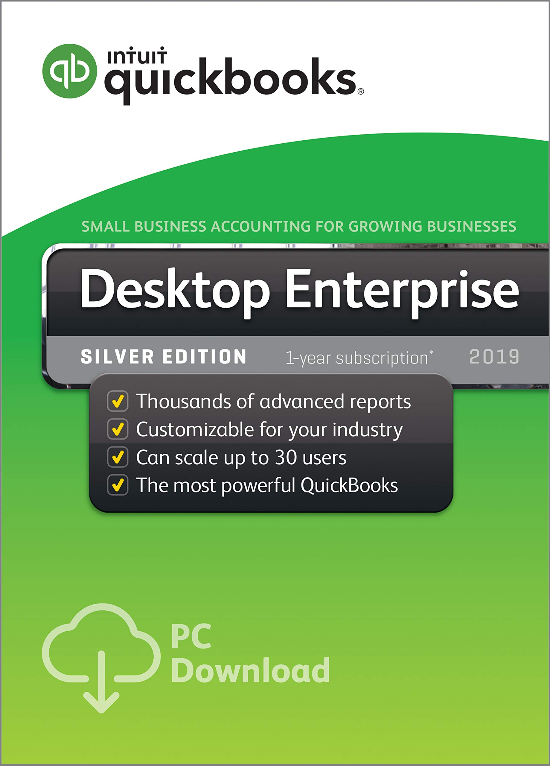 QuickBooks Desktop Enterprise Silver 2019, 5 User, 1 Year Subscription [PC Download] by Intuit