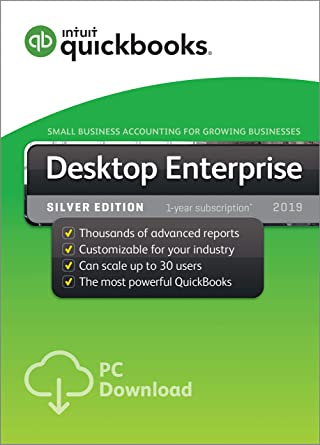 QuickBooks Desktop Enterprise Silver 2019, 2 User, 1 Year Subscription [PC  Download]