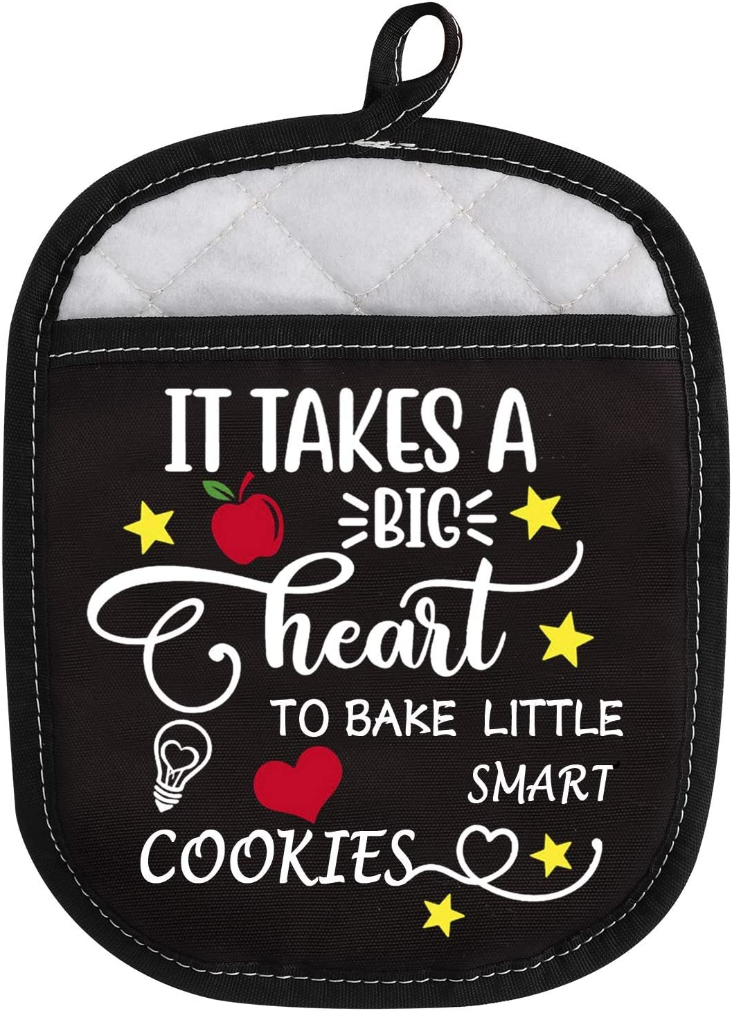 Oven Pads Pot Holder with Pocket for Teacher It Takes A Big Heart to Bake Little Smart Cookies (Bake Little Smart Cookies)
