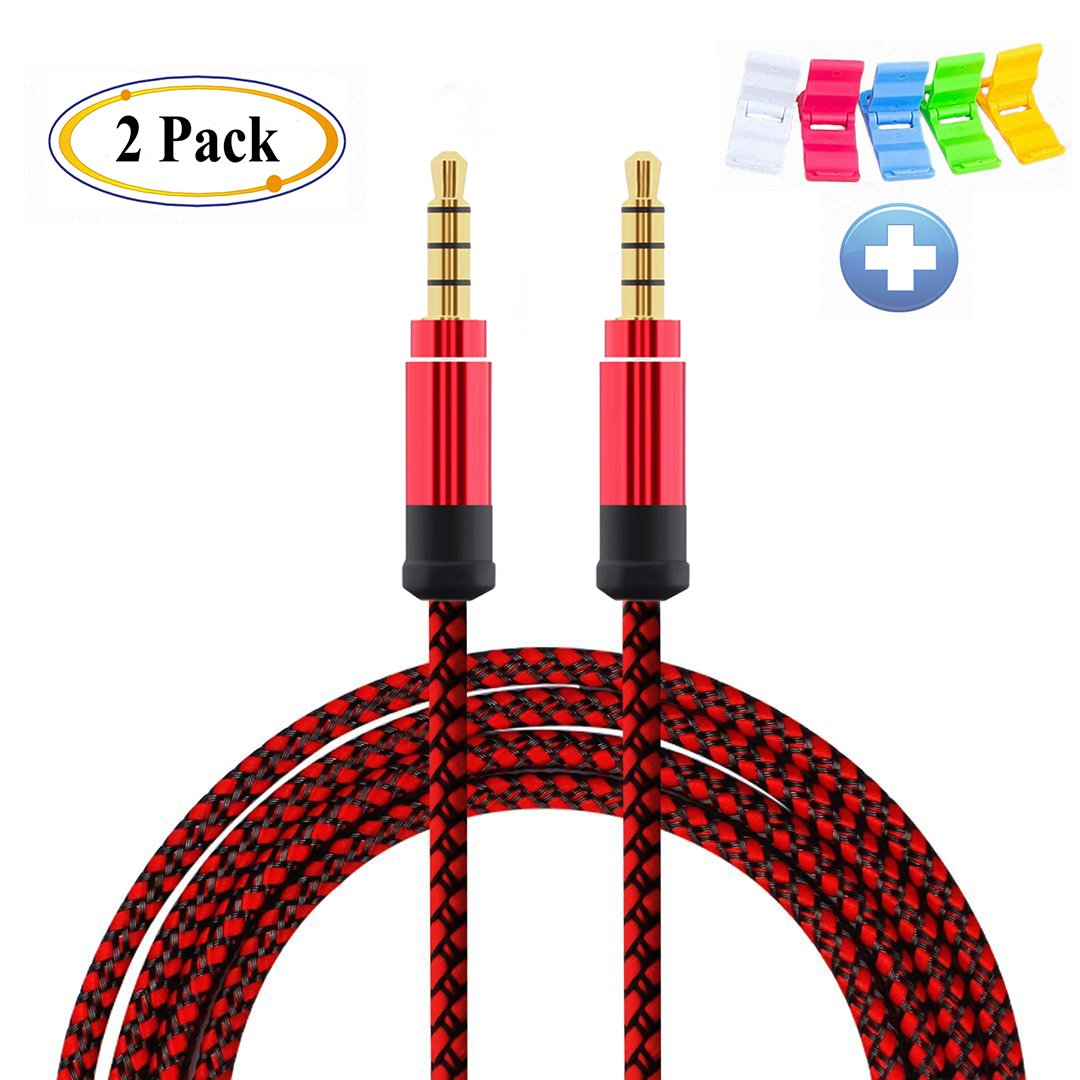 AUX Cord Tangle-Free Auxiliary Cable DFrhythm 3.5mm Nylon Braided Audio Cable Headphone Cord for Car Smartphone Tablets Headset PC Laptop Speaker MP3 Players(5ft /1.5m) 2-Pack Red
