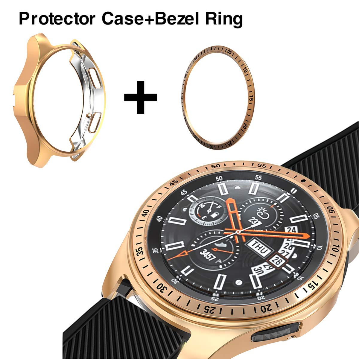 [2 Pack] JZK Samsung Galaxy Watch 46mm/Gear S3 Frontier & Classic Bezel Ring,Adhesive Cover Anti Scratch & Collision Protector Bezel Loop + Protector Case for Galaxy Watch 46mm Smartwatch Accessories by JZK