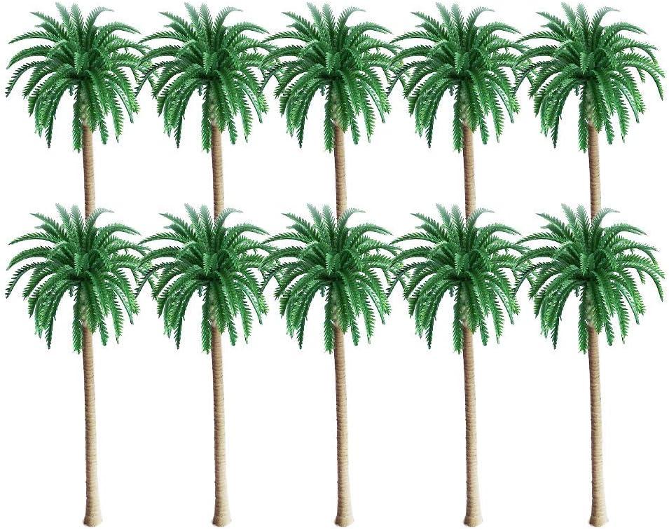 10 pcs Modelo de árboles, Palmeras De Coco Modelo, Modelo de Árbol Palmera Paisaje de Tren Plástico Verde, para Modelo Tren Ferrocarril Arquitectura Diorama Bricolaje de Paisaje (13 cm)