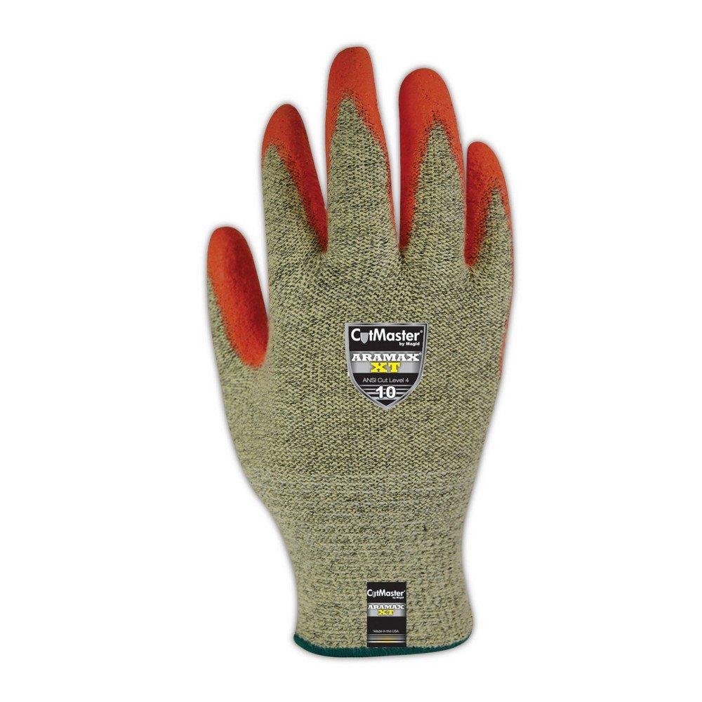 Magid Glove & Safety AX300HV-12 Magid Cut Master Aramex XT AX300HV Gloves with PU Palm Coating - Cut Level 4, 11, Yellow , 12 (Pack of 12)
