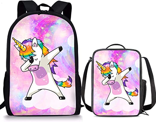 Horse Designs School Backpack Boys Girls 2Pcs Bags Bookbag With Lunchbags cooler