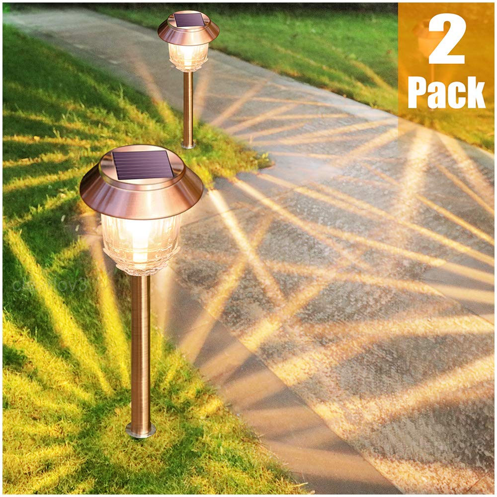 Solar Garden Lights Outdoor Pathway Lights Glass Stainless Steel Waterproof Solar Powered Landscape Lights for Yard Patio Lawn Path Walkway, Super Bright 12-32 Lumens, 2 Pack by DenicMic