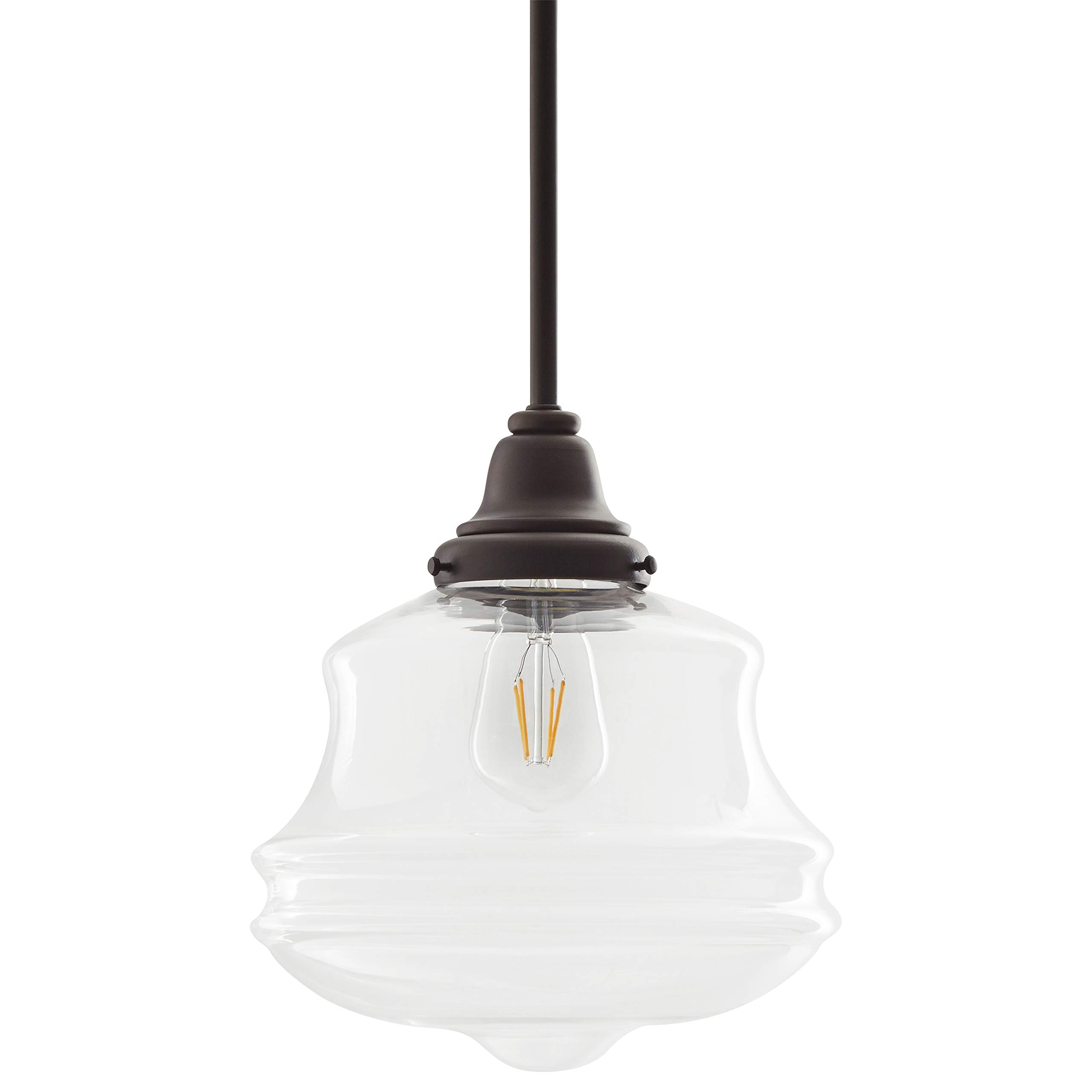 Stone & Beam Vintage Farmhouse Pendant Chandelier with LED Light Bulb - 10 x 10 Inch Clear Glass Shade, 60.12 Inch Cord, Antique Bronze