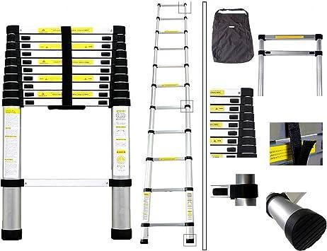 Escalera telescópica doble de 2,6 m, versátil, plegable, extensible, portátil, multiusos, para todas tus necesidades de bricolaje: Amazon.es: Bricolaje y herramientas