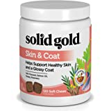 Solid Gold Skin & Coat Health Chew for Dogs; Natural, Holistic Grain-Free Supplement with Salmon Oil, Flaxseed and Superfoods; 120 chews