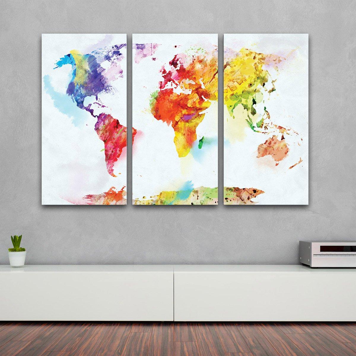 Amazon.de: XXL Kunstdruck - 3-teilig Wand Bilder bunte Weltkarte auf ...