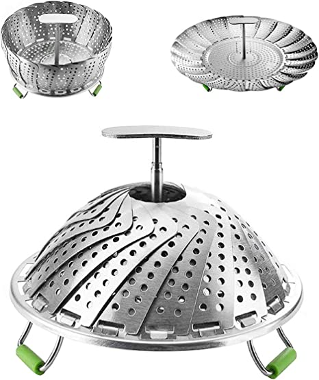 6 to 10.5 Foldable Vegetable Steamer Premium Stainless Steel Vegetable Steamer Basket Veggie Steamer Basket Fits Various Size Pot