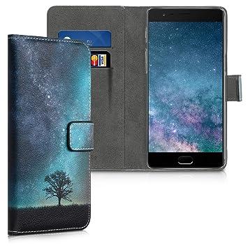 kwmobile Funda para OnePlus 3 / 3T - Carcasa de [Cuero sintético] con diseño de un Atardecer - Case con [Tarjetero]