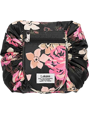ce34524124 Drawstring Cosmetic Bag Lazy Travel Makeup Bag Floral Make Up Storage  Organizer Cute Magic Toiletry Pouch