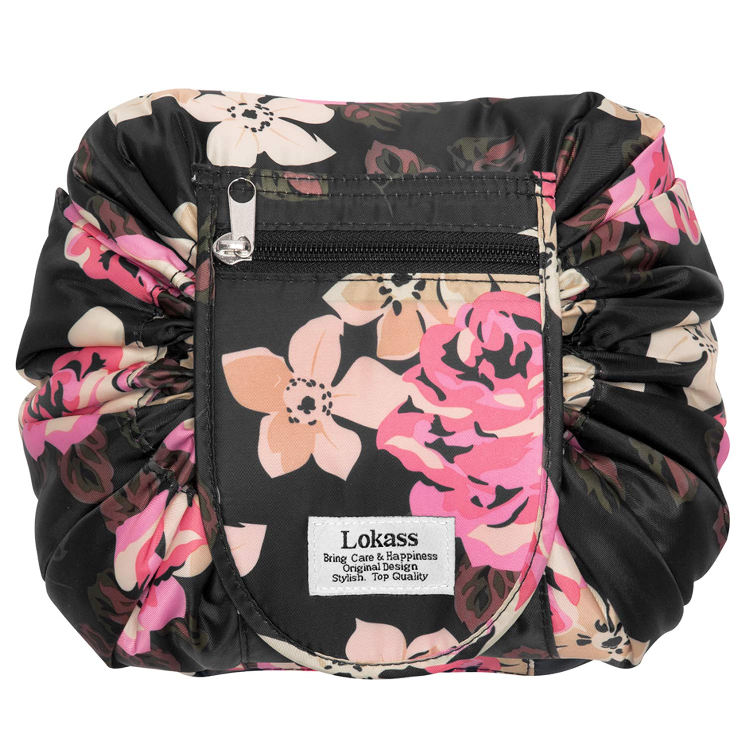 Drawstring Cosmetic Bag Lazy Travel Makeup Bag Floral Make Up Storage Organizer Cute Magic Toiletry Pouch for Women Girls,Portable/Large/Waterproof/Flat-Open/Quick Pack/Fashion Pattern,Black Peony