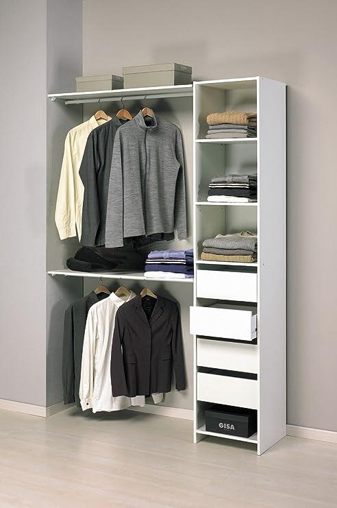 Abitti Kit Armario ropero Blanco Gran Capacidad para Dormitorio. 203x141cm (2 Tipos de Montaje