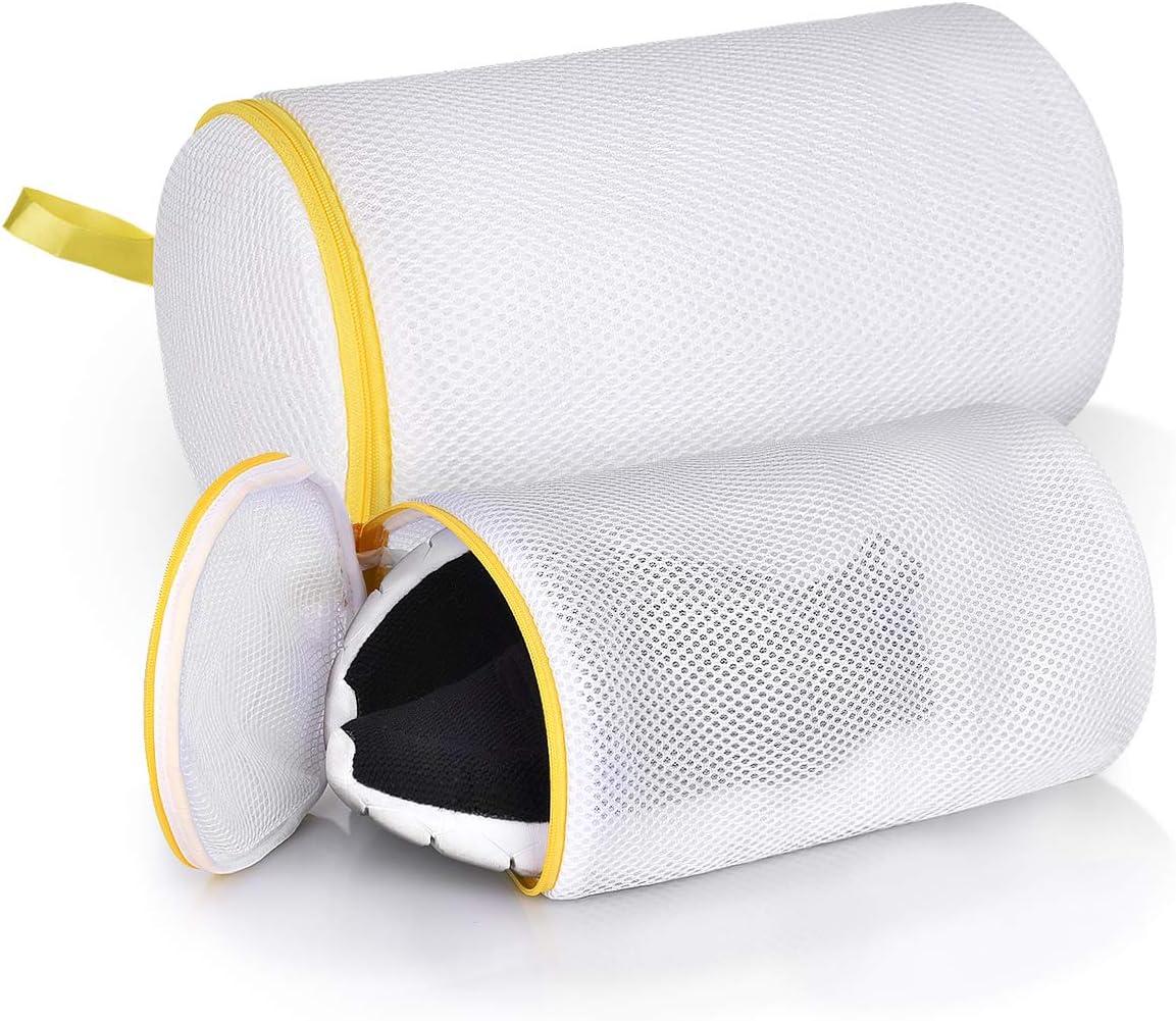 Herrfilk Shoe Wash Bags for Sneakers,2 Pack Mesh Laundry Bag with Durable Zip Closure,Hanging Loop (M/L),White
