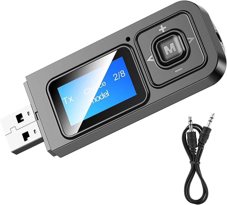 EasyULT Adaptador Bluetooth 5.0 Transmisor y Receptor 5 en 1, Emisor Bluetooth Inalambricos, Jack 3,5 mm Receptor Audio Música en Modo RX TX, para TV, PC, Audio, Coche-Negro