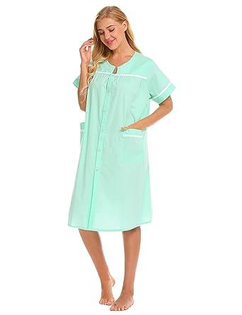 41ccf3ea60 Kisshes Women Ladies Cotton Nightdress Victorian Nightgown Short Sleeve  Nightie Buttoned Lounge Dress Purple Navy Blue