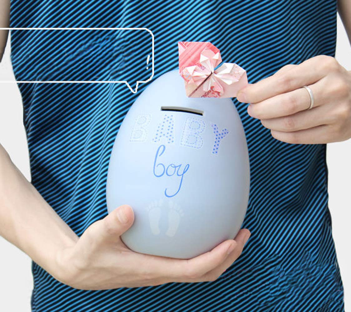 Blue Baby Boy Creative Egg shaped Ceramic Money Box Coin Storage for Baby Gifts Artwork Home Interior Decor with Gift Box Guwheat Money Bank