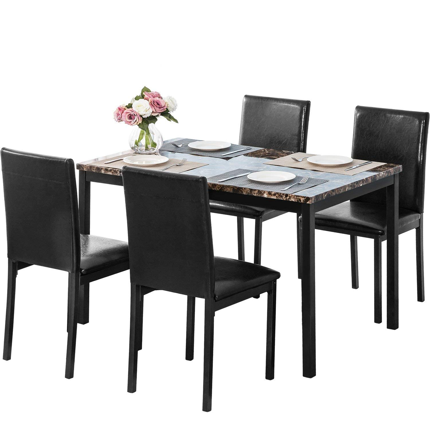 MOOSENG 5 Pieces Dining Table Set Elegant Faux Marble Desk and 4 Upholstered PU Leather Chairs, Perfect for Bar, Kitchen, Breakfast Nook, Living Room Occasions, Black