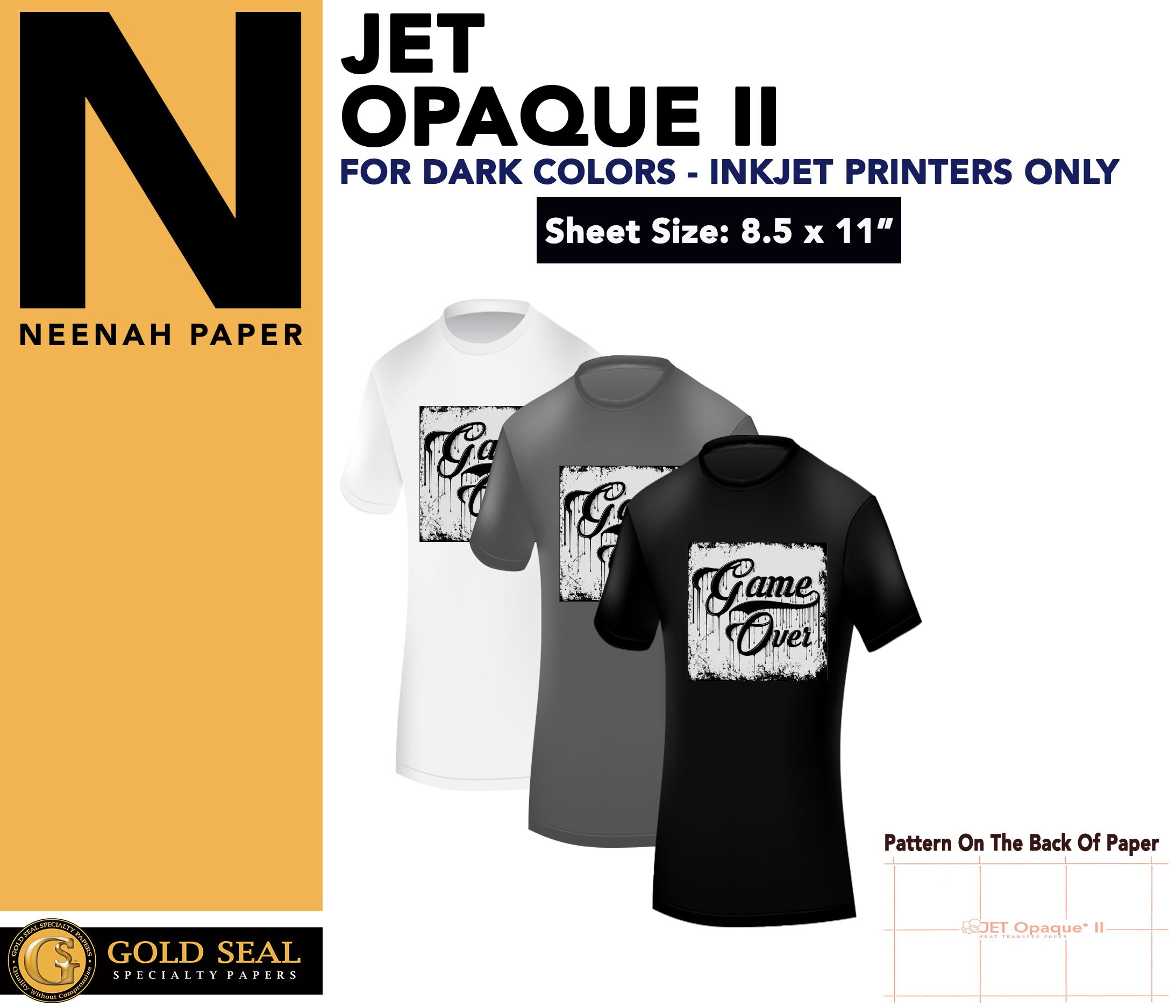 IRON ON HEAT TRANSFER PAPER JET OPAQUE II 8.5 x 11'' CUSTOM PACK 500 SHEETS