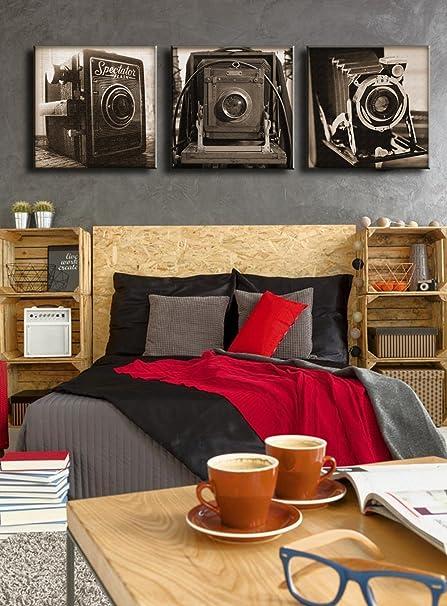 amazon com largr classic camera paintings pictures 3 panel wall art rh amazon com
