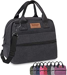 Buringer Insulated Lunch Bag Box Cooler Totes Handbag with Pockets and Removable Adjustable Shoulder Strap For Man Woman Work Shopping (Black with Shoulder Strap)