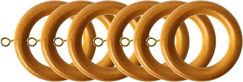 Jasmine Waldorf Wooden Curtain Rings Fits 35mm Diameter Pole Pack of 6 Beech Effect