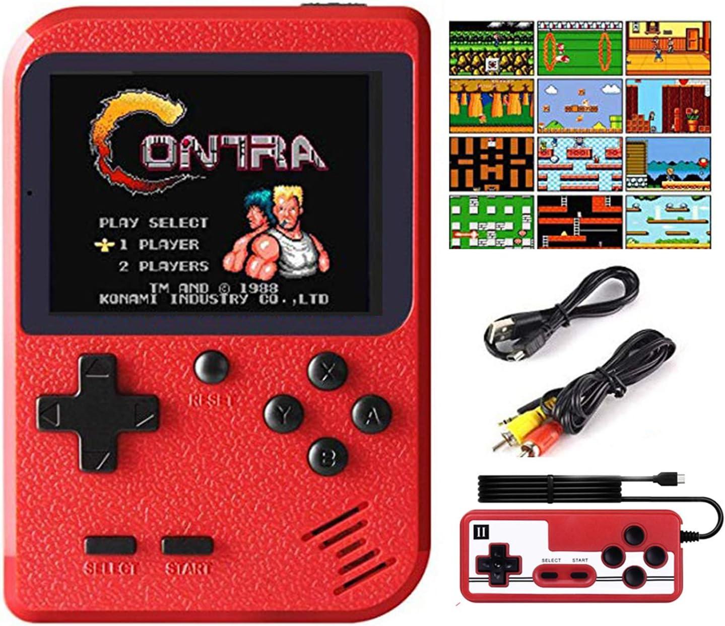 Hanbee Consola de Juegos Portátil, 400 Juegos Retro 3 Pulgadas Pantalla a Color Soporte para Jugadores Duales y Conexión de TV, Recargable Game Player ,Presente para niños y Adultos