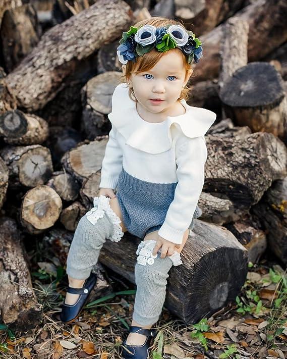 d1eecfd86 Amazon.com  Urkutoba Baby Girls Romper Knitted Ruffle Long Sleeve ...