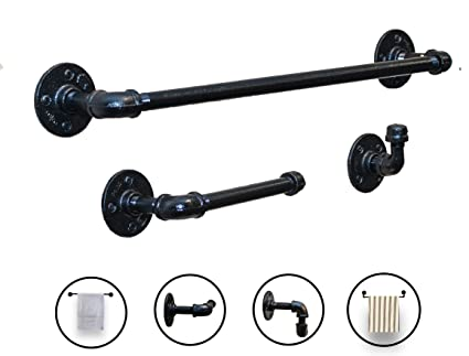Attrayant Amazon.com: Industrial Farmhouse Black Bathroom Hardware Set  3 Piece Kit  Includes Robe Hook,18 Inch Black Towel Rack And Industrial Toilet Paper  Holder.
