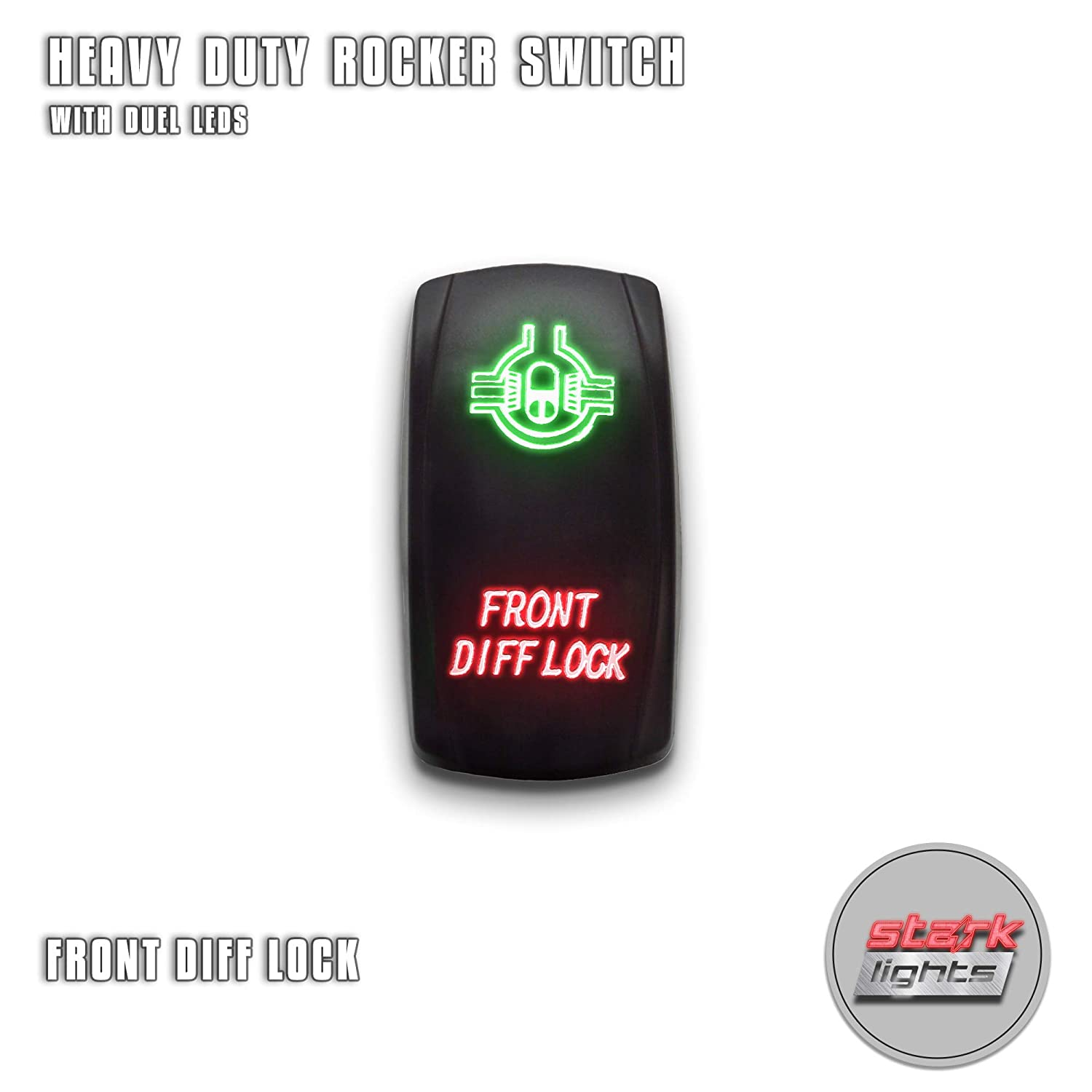 Green EJECTION SEAT STARK 5-PIN Laser Etched LED Rocker Switch Dual Light 20A 12V ON//OFF UNV inc