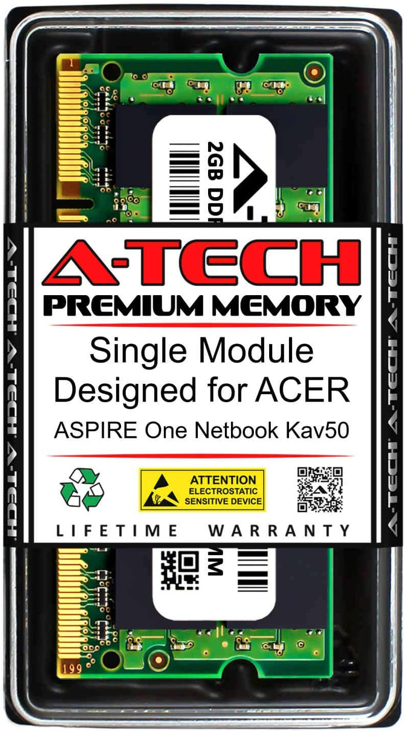 A-Tech 2GB RAM for ACER Aspire ONE Netbook KAV50 | DDR2 667MHz SODIMM PC2-5300 200-Pin Non-ECC Memory Upgrade Module