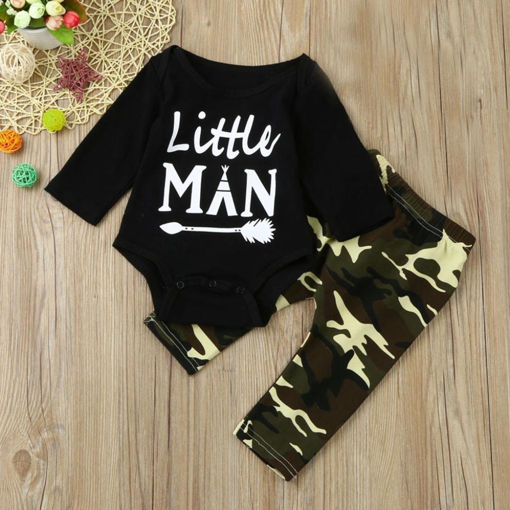 Kavitoz Newborn Infant Baby Boys Letter Romper Tops Camouflage Pants Outfits Clothes Set