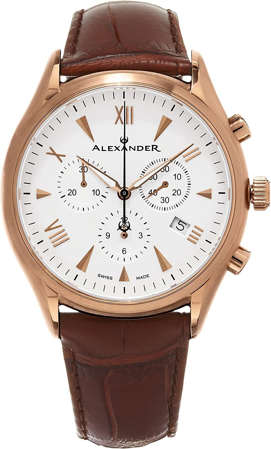 Alexander Heroic Pella Men s Multi-Function Chronograph Brown Leather Strap Rose Gold Plated Swiss Made Watch A021-04