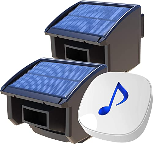 Htzsafe Solar Wireless Driveway Alarm System-1 4 Mile Long Transmission Range-Solar Powered No Need Replace Batteries-Outdoor Weatherproof Motion Sensor DIY Security Alert-1 Receiver and 2 Sensors KIT
