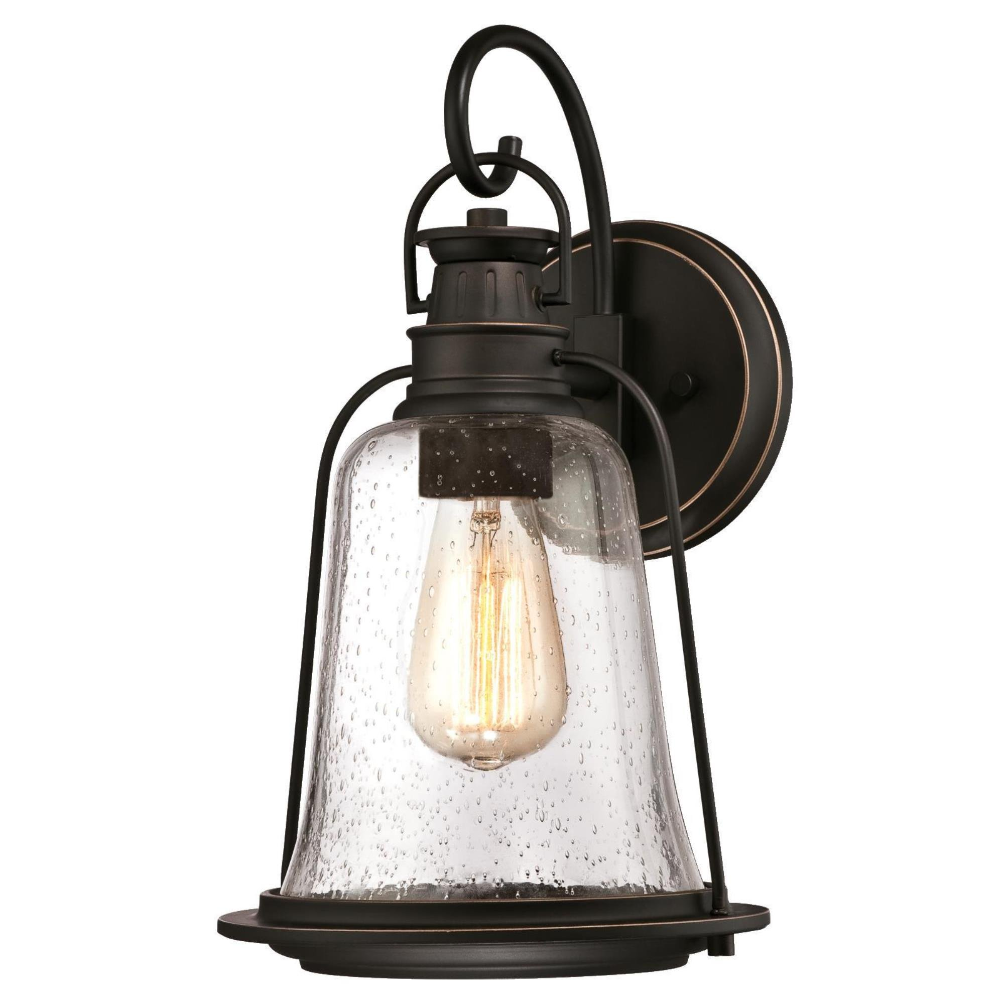 Westinghouse Lighting 6349100 Brynn One-Light Outdoor Wall Fixture, Oil Rubbed Bronze Finish with Highlights and Clear Seeded Glass by Westinghouse Lighting