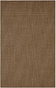 Wool Blend Dalton Rectangular Rug Low Profile Fire Resistant for Fireplace and Home 24 x 42 Mocha