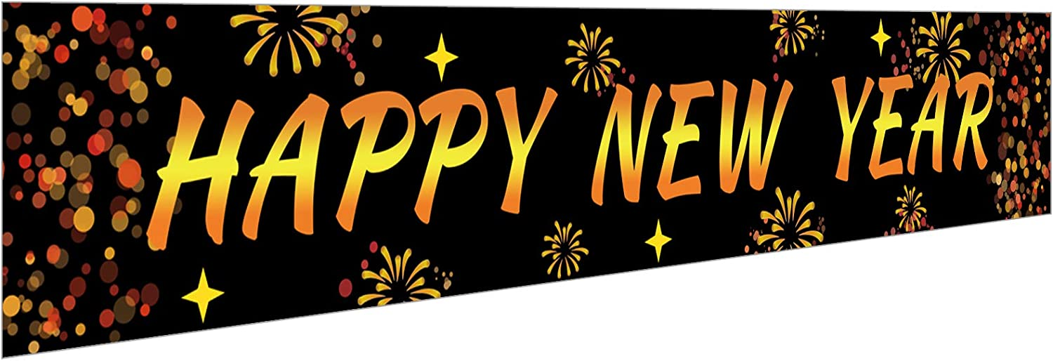 Ushinemi Happy New Year Banner Decorations, Happy New Year Eve Party Supplies 2021 Decor, 9.8X1.6 Feet