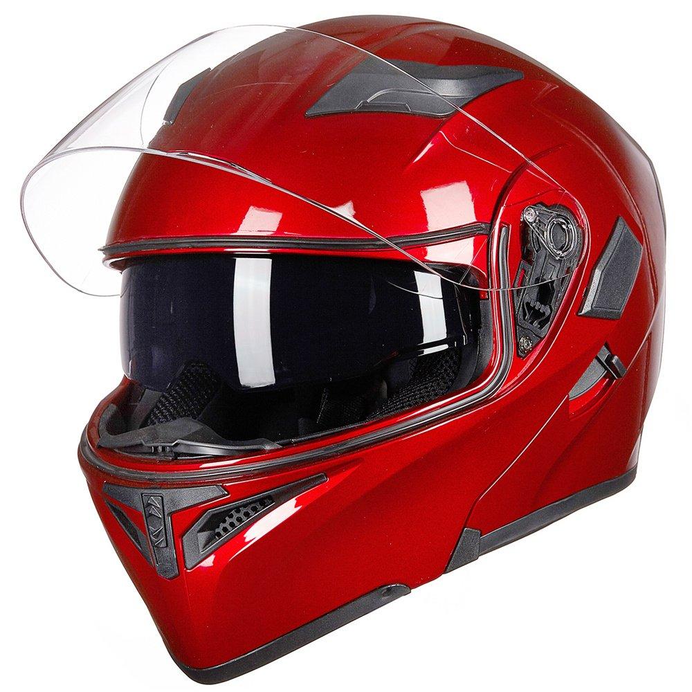 M, YELLOW ILM Motorcycle Dual Visor Flip up Modular Full Face Helmet DOT 6 Colors