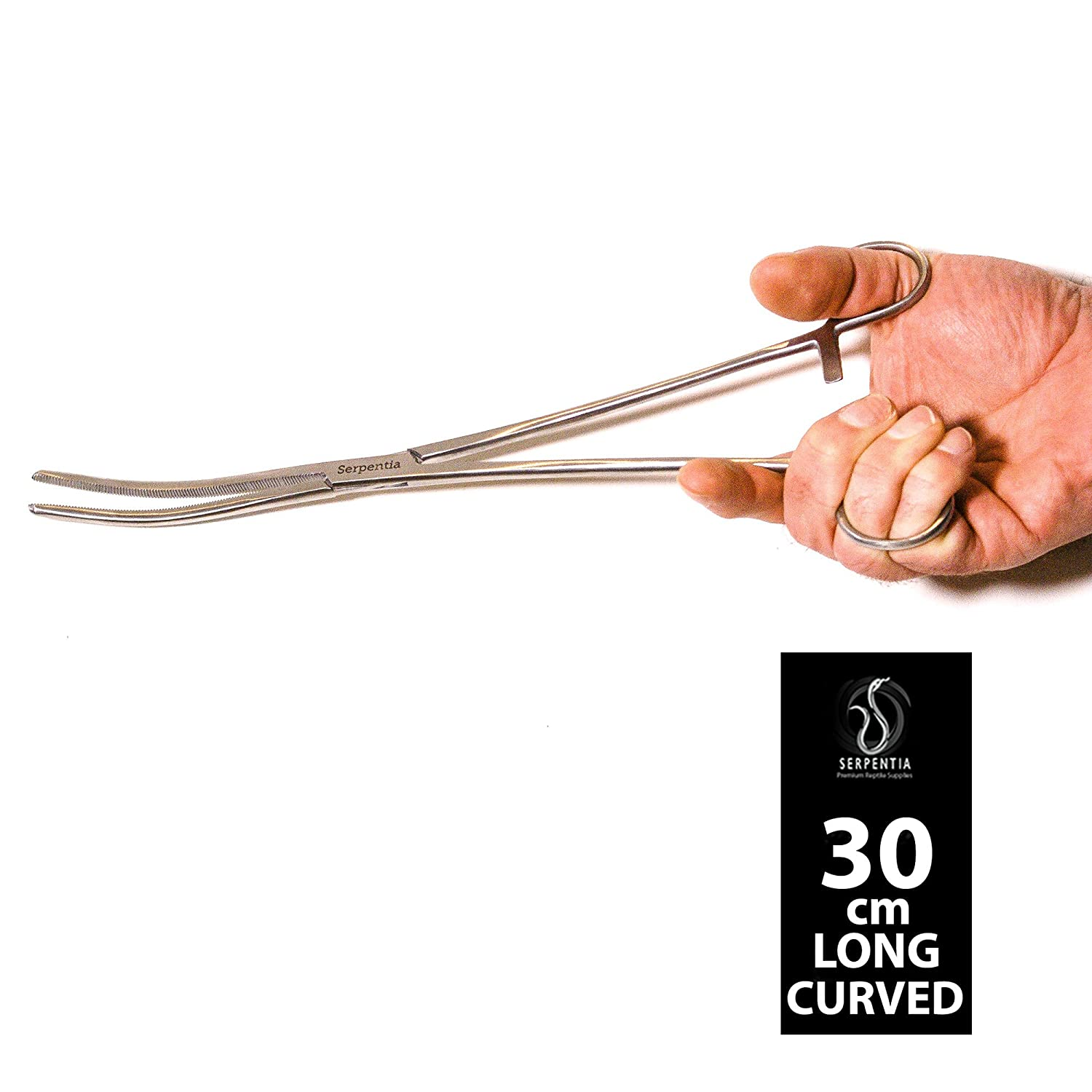 Serpentia Snake/Reptile Feeding Tongs (Hemostats) - 30cm Curved Tip