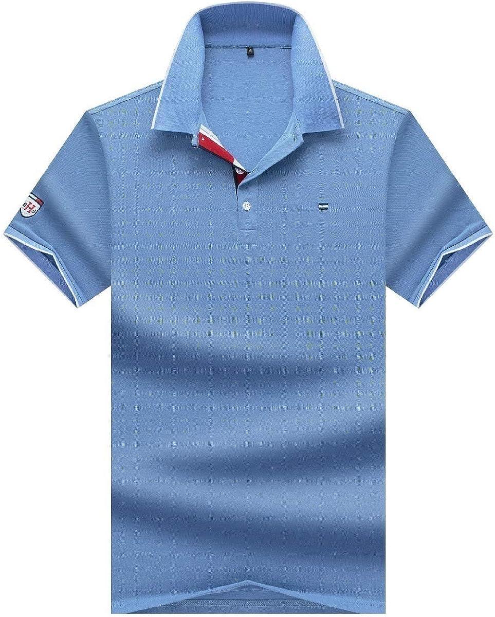 Zimaes-Men Loose Polo-Collar Cotton Short Sleeve Original Fit Tunic Shirt