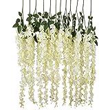 luyue Ratta Glicine vite artificiale per fiori di seta Matrimonio Partito Home Decor 1,4m, confezione da 6 White